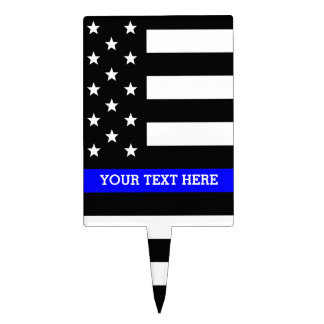 Thin Blue Line - American Flag Personalized Custom Cake Topper