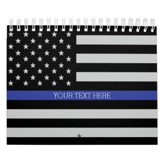 Thin Blue Line - American Flag Personalized Custom Calendar
