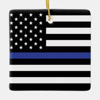 Thin Blue Line - American Flag Personalized Custom Ceramic Ornament