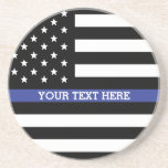 "Thin Blue Line - American Flag Personalized Custom Drink Coaster<br><div class=""desc"">Thin Blue Line - American Flag Personalized Custom Drink Coaster just for you.</div>"
