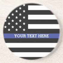 Thin Blue Line - American Flag Personalized Custom Drink Coaster