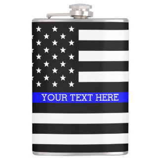 Thin Blue Line - American Flag Personalized Custom Hip Flask