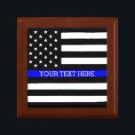 "Thin Blue Line - American Flag Personalized Custom Keepsake Box<br><div class=""desc"">Thin Blue Line - American Flag Personalized Custom Tile Gift Box Just for you.</div>"