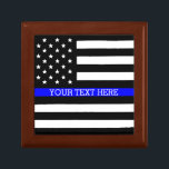 "Thin Blue Line - American Flag Personalized Custom Keepsake Box<br><div class=""desc"">Thin Blue Line - American Flag Personalized Custom Tile Gift Box Just for you.</div>"