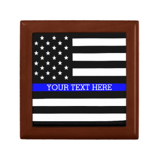 Thin Blue Line - American Flag Personalized Custom Keepsake Box