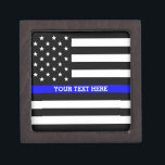 "Thin Blue Line - American Flag Personalized Custom Keepsake Box<br><div class=""desc"">Thin Blue Line - American Flag Personalized Custom Gift Box just for you.</div>"