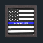 "Thin Blue Line - American Flag Personalized Custom Keepsake Box<br><div class=""desc"">Thin Blue Line - American Flag Personalized Custom Gift Box just for you.</div>"