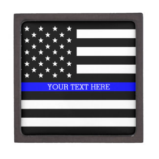 Thin Blue Line - American Flag Personalized Custom Keepsake Box