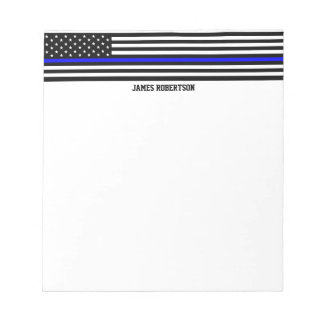 Thin Blue Line - American Flag Personalized Custom Notepad