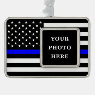 Thin Blue Line - American Flag Personalized Custom Ornament