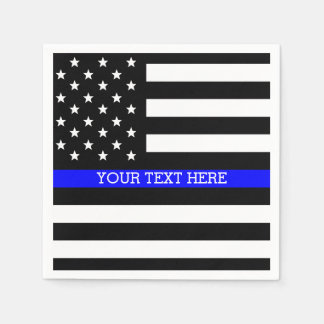 Thin Blue Line - American Flag Personalized Custom Paper Napkin