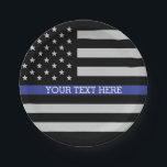"Thin Blue Line - American Flag Personalized Custom Paper Plate<br><div class=""desc"">Thin Blue Line - American Flag Personalized Custom Paper Plates just for you.</div>"