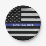 Thin Blue Line - American Flag Personalized Custom Paper Plate