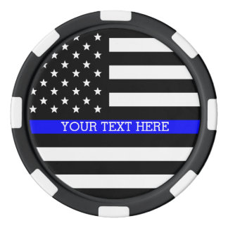 Thin Blue Line - American Flag Personalized Custom Poker Chip Set