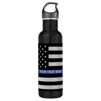 Thin Blue Line - American Flag Personalized Custom Stainless Steel Water Bottle