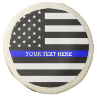 Thin Blue Line - American Flag Personalized Custom Sugar Cookie