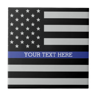 Thin Blue Line - American Flag Personalized Custom Tile