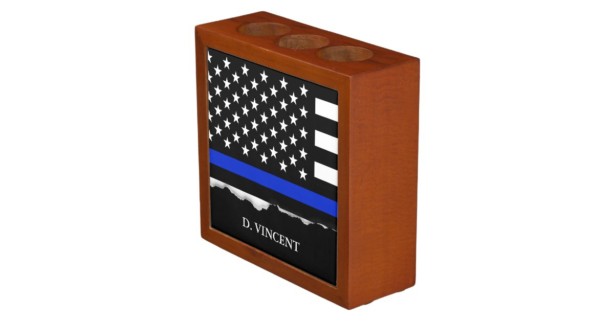 Thin Blue Line American Flag Personalized Pencil Holder