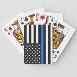 """Thin Blue Line American Flag Playing Cards<br><div class=""""desc"""">The Thin Blue Line is a symbol used by law enforcement.</div>"""