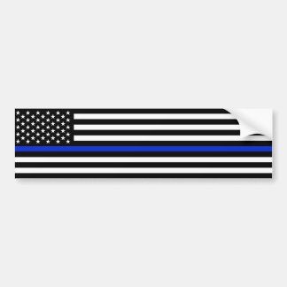 Thin Blue Line American Flag Police Style Bumper Sticker