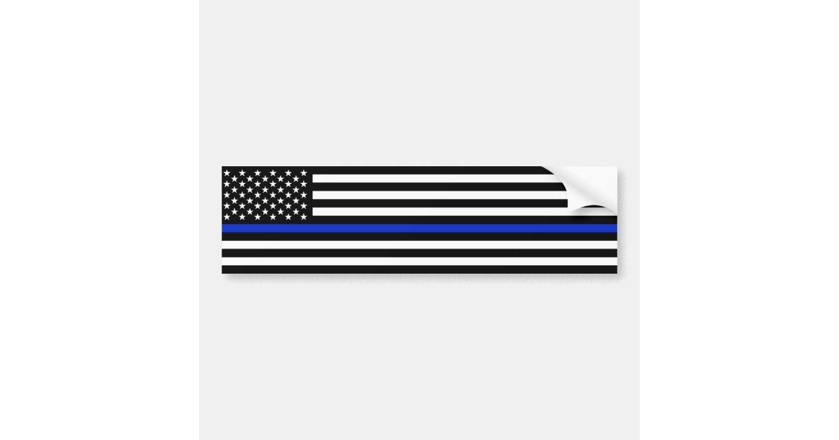 Thin Blue Line American Flag Police Style Bumper Sticker