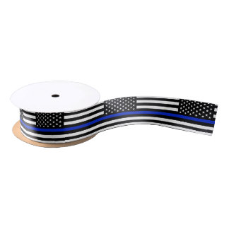 Thin Blue Line American Flag Satin Ribbon