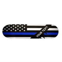 Thin Blue Line American Flag Skateboard Deck