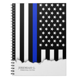 Thin Blue Line American Flag Spiral Notebook