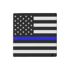 Thin Blue Line - American Flag Stone Magnet at Zazzle