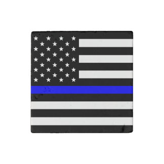 Thin Blue Line - American Flag Stone Magnet