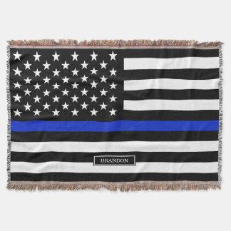 Thin Blue Line American Flag Throw