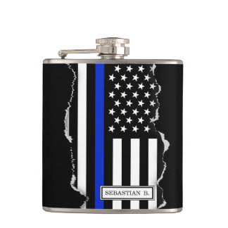 Thin Blue Line American Flag Torn Out Look Hip Flask