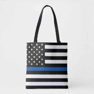 Thin Blue Line - American Flag Tote Bag