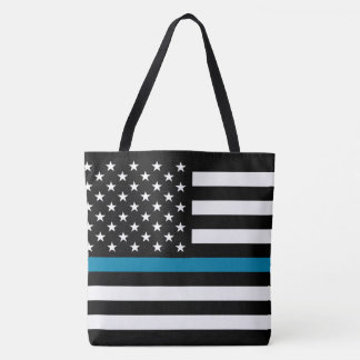 Thin Blue Line American Flag Tote Bag