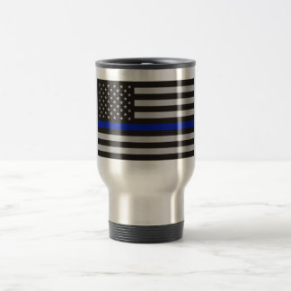 THIN BLUE LINE AMERICAN FLAG TRAVEL MUG