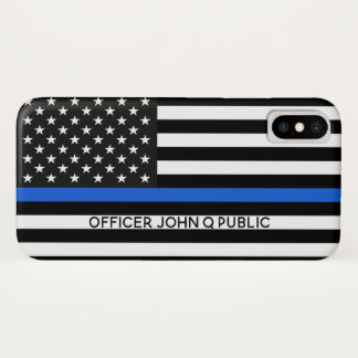 Thin Blue Line American Flag w/ Name iPhone X Case