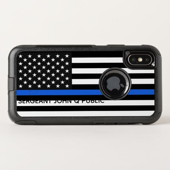 Thin Blue Line American Flag w/ Name OtterBox Commuter iPhone X Case