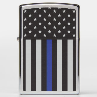 Thin Blue Line American Flag Zippo Lighter