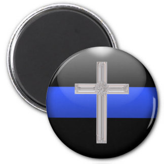 Thin Blue Line and Crystal Safety Prayer Cross 2 Inch Round Magnet