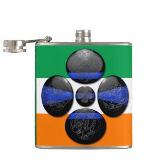Thin Blue Line and Six Irish Symbols Hip Flask