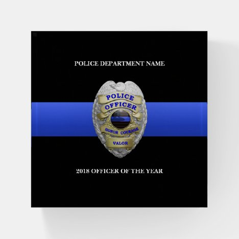 Thin Blue Line Award Badge Plaque Paperweight