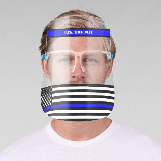 [Thin Blue Line] Back the Blue Face Shield 2 SVG