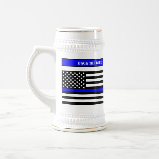 [Thin Blue Line] Back the Blue Law Enforcement SVG Beer Stein
