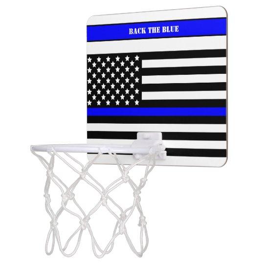 [Thin Blue Line] Back the Blue Law Enforcement SVG Mini Basketball Hoop