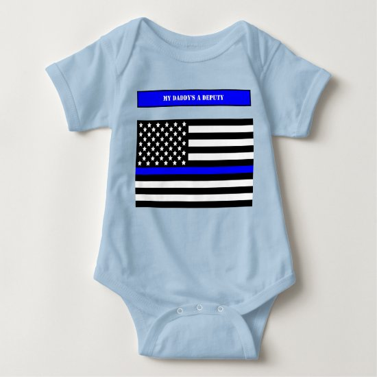 [Thin Blue Line] Back the Blue Police Officer SVG Baby Bodysuit