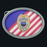 """Thin Blue Line Badge Belt Buckle<br><div class=""""desc"""">This design is intended to honor the courageous men and women who protect our communities. This police,  sheriff and law enforcement symbol is beautiful graphic tribute to those who serve and those who have made the ultimate sacrifice.</div>"""