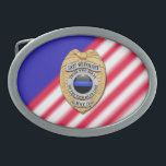 "Thin Blue Line Badge Belt Buckle<br><div class=""desc"">This design is intended to honor the courageous men and women who protect our communities. This police,  sheriff and law enforcement symbol is beautiful graphic tribute to those who serve and those who have made the ultimate sacrifice.</div>"