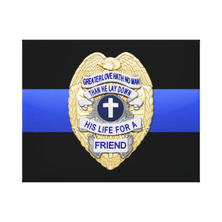 Thin Blue Line & Badge Gallery Wrap Canvas
