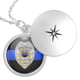 Thin Blue Line Badge Locket Necklace