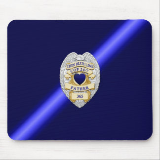 Thin Blue Line Badge Mouse Pad